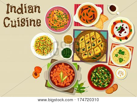 Indian cuisine dinner menu icon with chicken curry with vegetables, chickpea curry, lentil tomato sauce, ocra curry, cabbage pepper salad, corn lentil soup, chickpea semolina pie, cherry cream dessert