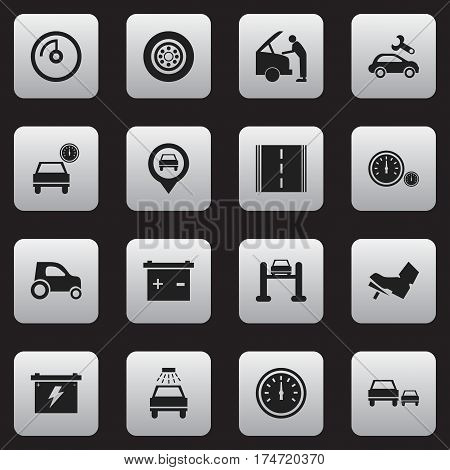 Set Of 16 Editable Transport Icons. Includes Symbols Such As Tire, Auto Service, Treadle And More. Can Be Used For Web, Mobile, UI And Infographic Design.