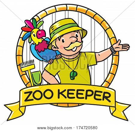 Funny zoo keeper or zoologist. A man dressed in panama hat, t-shirt and shorts with parrot and the service cart. Profession ABC series. Childrens vector illustration. Emblem