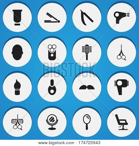 Set Of 16 Editable Hairstylist Icons. Includes Symbols Such As Elbow Chair, Peeper, Scrub And More. Can Be Used For Web, Mobile, UI And Infographic Design.