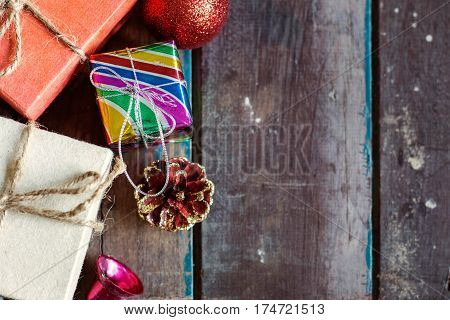 Gift and a decoration on old wooden.