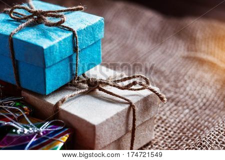 Gift boxes of stacked on a table.
