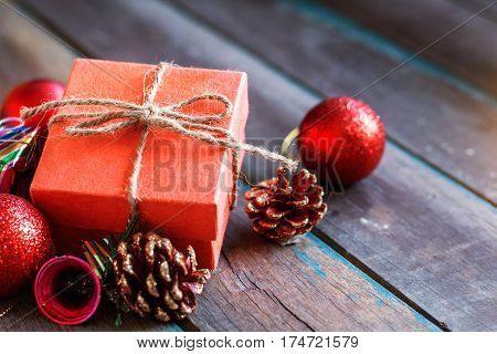 Gift and decoration on a wooden table.