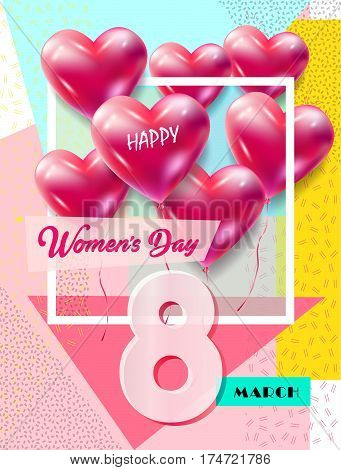 8 March Happy Women's Day. Eighth March Greeting card. 8 march international women's day Spring Holiday. Futuristic, trendy design. Vector illustration.