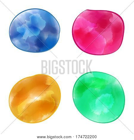 Set of water color color banners. Multi-colored spots of paint on a white background. Design elements. Vector illustration.