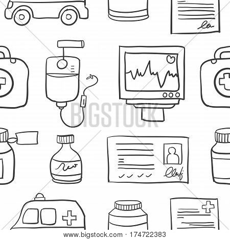 Doodle of medical element various vector collection stock