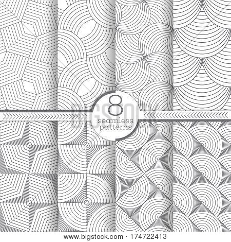 Set of vector seamless patterns. Stylish modern geometric textures. Regularly repeating geometrical seamless backgrounds with thin lines.