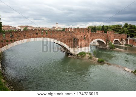 The Ponte Pietra (Stone Bridge) once known as the Pons Marmoreus is a Roman arch bridge crossing the Adige River in Verona Italy. The bridge was completed in 100 BC