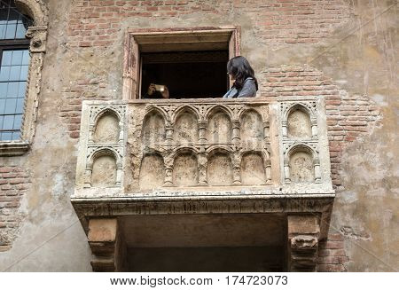 VERONA ITALY - MAY 1 2016: Juliet balcony in Verona. Romeo and Juliet is a tragedy written by William Shakespeare. This place is the main tourist attraction in Verona.