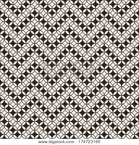 Seamless pattern. Modern stylish texture with intersecting circles. Regularly repeating geometrical tiles with rhombuses diamonds flowers. Zigzag strips with rhombuses.