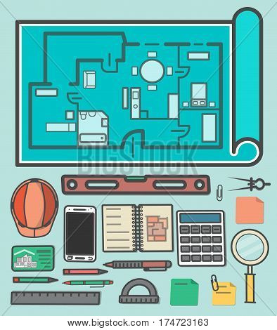 Architectural studio icons vector illustration. Building project, design and construction management, estate development business. Ruler, calculator, architectural drawing, safety helmet, spirit level