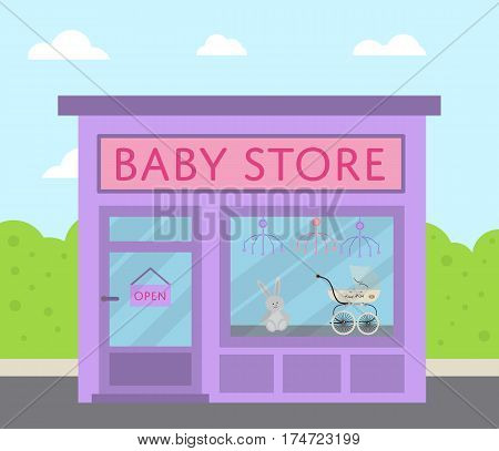 Purple facade baby store building with sign board and toys in shop window vector illustration. Concept front kids market along city street in flat design. Child carriage, baby care product, toys