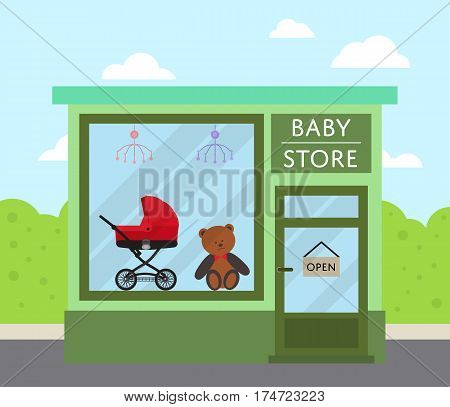 Green facade baby store building with sign board and toys in shop window vector illustration. Concept front kids market along city street in flat design. Child carriage, baby care product, toys