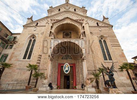 VERONA ITALY - MAY 1 2016: The Duomo di Verona (Cathedral of Santa Maria Matricolare) Verona Veneto Italy