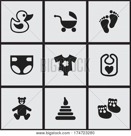 Set Of 9 Editable Baby Icons. Includes Symbols Such As Tower, Bath Toys, Footmark And More. Can Be Used For Web, Mobile, UI And Infographic Design.