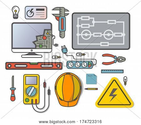 Electricity engineering icon set vector illustration. Electrician professional instrument, repair and maintenance concept. Safety helmet, multimeter, electronic circuit, spirit level, power strip
