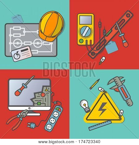 Electricity engineering banner set vector illustration. Electrician professional instrument, repair and maintenance concept. Safety helmet, multimeter, electronic circuit, spirit level, power strip