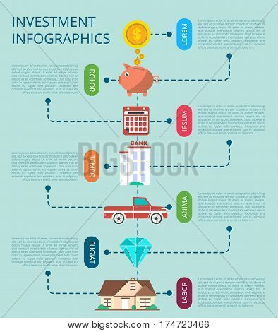 Investment infographic concept vector illustration. Smart investment in securities, buying and renting commercial real estate, jewelry and cash, bank deposits. Financial strategic management design