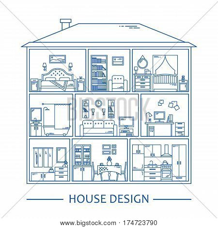 Line style infographics with interior design elements. Vector illustration. Furniture interior graphic background. Banner set apartment decoration