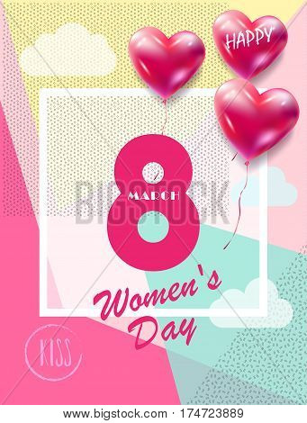 8 March Happy Women's Day. Eighth March Greeting card. 8 March International women's day. Spring Holiday. Futuristic, modern design. Number Eight isolated logo, hearts, heart balloons, clouds, geometric, triangles, stylish background. Trendy style. Fashio