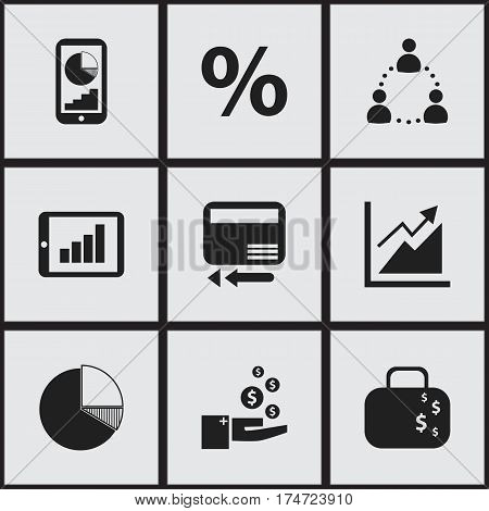 Set Of 9 Editable Logical Icons. Includes Symbols Such As Profit, Credit Card, Percent And More. Can Be Used For Web, Mobile, UI And Infographic Design.