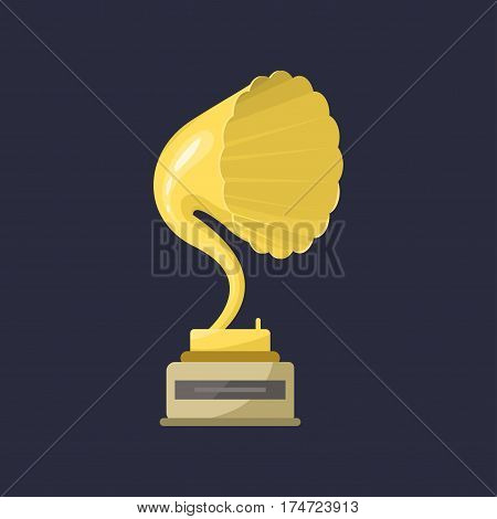Gold rock star trophy music gramophone best entertainment win achievement clef and sound shiny golden melody success prize pedestal victory vector illustration. Champion competition honor sign.