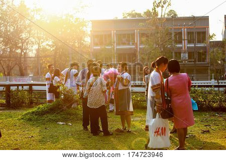 Chiang Mai Thailand - March 4, 2017: Families send graduates attended the graduation rehearsal at Rajamangala University of Technology Lanna