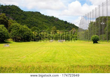 Driving range on the golf course in mountain