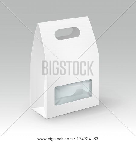 Vector White Blank Cardboard Rectangle Take Away Handle Lunch Box Packaging For Sandwich, Food, Gift, Other Products with Plastic Window Mock up Close up Isolated on White Background