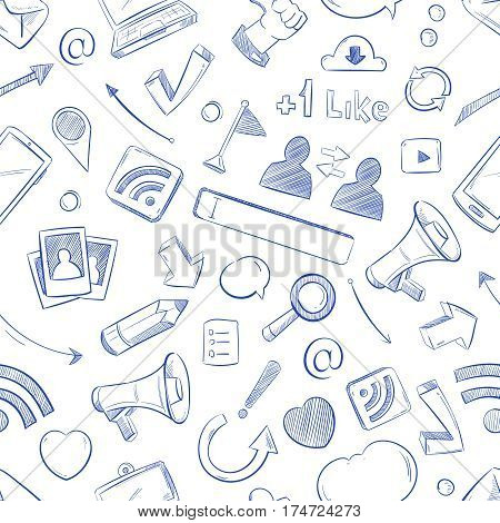 Doodle social media, movie, music, news, video, online marketing, sms vector seamless backdrop. Media social pattern with sketch elements pencil and megaphone illustration