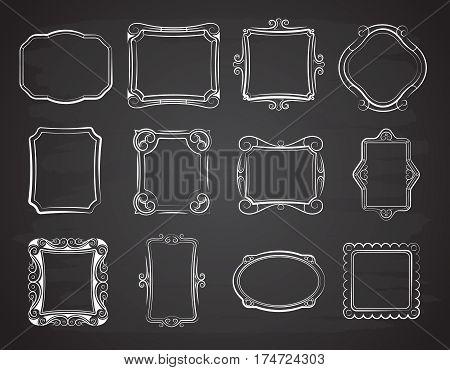 Vector doodle portrait photo frames, sketch antique box on chalkboard. Set of sketch frame for portrait, illustration of hand, drawing frame on chalk board
