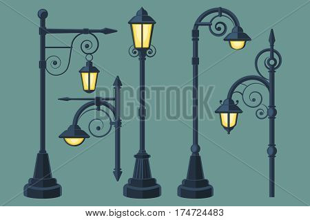 Cartoon, comic book vintage and modern street lights vector set. Street lamp with curls, illustration of light lamp for city