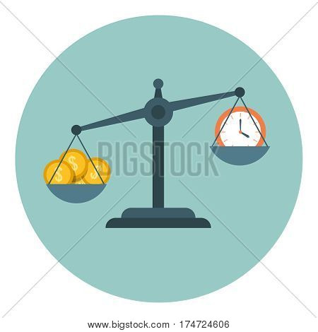 Time is money, scale measuring flat time management vector business concept. Clock on scalepan and illustration money on other scalepan