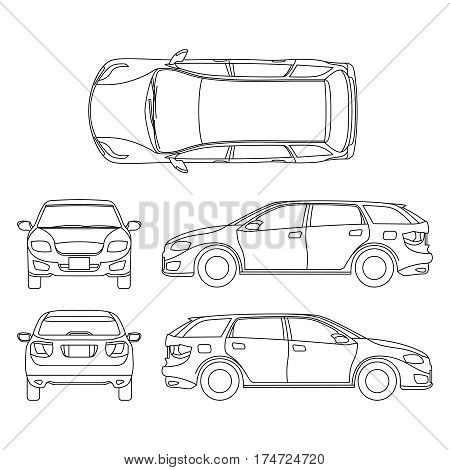 Line drawing of car white vehicle, vector computer art. Model of car, sketchy graphic transport car illustration