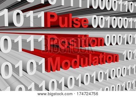 pulse position modulation in the form of binary code, 3D illustration