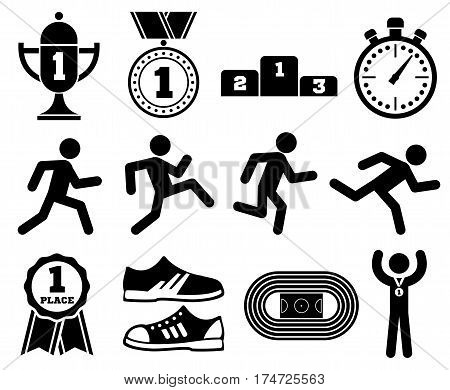 Running sport, outdoor jogging people, marathon race vector icons. Active run competition, illustration of run exercise