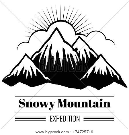 Vector outdoor climbing and hiking backgrouns with mountain ranges and hills silhouettes. Banner with snow mountain, illustration of black mountain