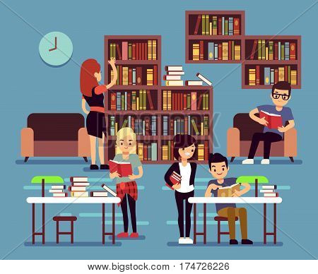 Studying students in library interior with books and bookshelves vector illustration. Student college in library studying and reading, student learning textbook poster