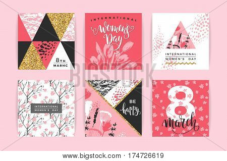International Women s Day. Vector templates with lettering design and hand draw texture. Design for card, poster, flyer and other users.