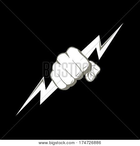 The fist squeezing a lightning. The vector illustration symbolizing force the power. A logo a sign for the power companies fight club. Design element. Vector illustration.
