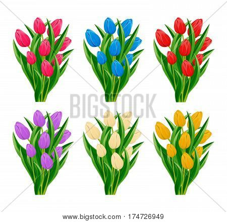 Spring flowers bouquet with blooming tulip flowers vector. Decorated spring flowers design for holiday. Vector flowers. Spring flowers concept. Summer flowers illustration. Bouquet of spring or summer flowers. Realistic vector flowers.