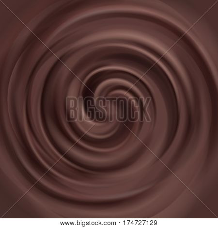 Liquid chocolate swirl vector background. Swirl milk chocolate, illustratin of brown chocolate cream
