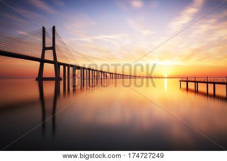Lisbon Vasco da Gama bridge in Portugal