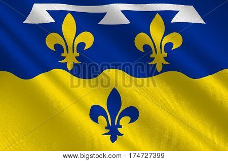 Flag of Loir-et-Cher is a department in the Centre-Val de Loire region France. 3d illustration