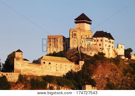 Castle Trencin in Slovakia at a sunset,