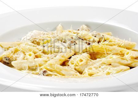 Pasta Pene with Mushrooms and Chicken Meat