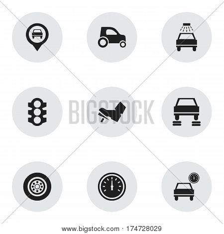 Set Of 9 Editable Transport Icons. Includes Symbols Such As Stoplight, Speed Control, Auto Repair And More. Can Be Used For Web, Mobile, UI And Infographic Design.