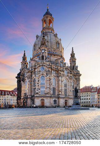 Frauenkirche church - Dresden Germany at a sunrise