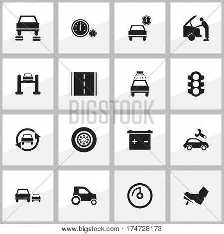 Set Of 16 Editable Vehicle Icons. Includes Symbols Such As Stoplight, Automobile, Tire And More. Can Be Used For Web, Mobile, UI And Infographic Design.