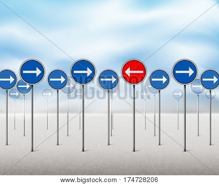 Blue Arrow Signs And One Red Pointing In Opposite Direction